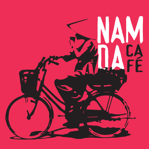 logotype namda cafe with vietnamese woman on bike