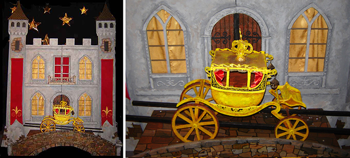 stage of castle and golden carriage prop